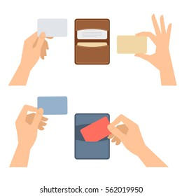 Businessman hands takes out a business card from holder, holds credit cards. Isolated on white flat concept illustration of cardholders, blanks. Vector infographic elements for web, presentations.
