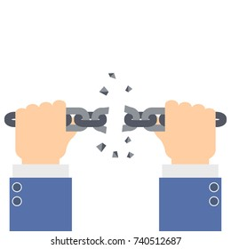Businessman hands tearing and broke a chain link - vector