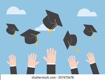 Businessman Hands Throwing Graduation Hat In The Air VECTOR EPS10