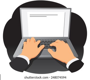 Businessman hands are typing on laptop keyboard