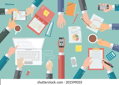 Businessman hands with various poses, holding, pointing, presenting, writing, in very busy business meeting or conference.