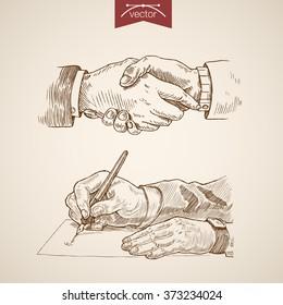 Businessman handshake letter ink pen writing icon set. Engraving style pen pencil crosshatch hatching paper painting retro vintage vector lineart illustration.