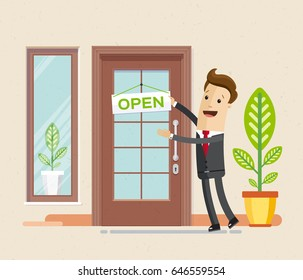 "Businessman hang a sign ""open"" on the front door. Business man open new office, business, store.  Vector, illustration, flat"