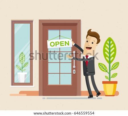 open front door illustration cartoon businessman hang sign hang sign open on front stock vector royalty free