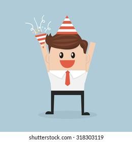 Businessman happy in celebration party, flat design