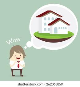 businessman is happy, dream luxury house, business concept