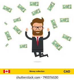 Businessman happy to earn a lot of money. Canadian dollar banknote vector illustration.
