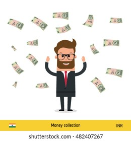 Businessman happy to earn a lot of money. Indian Rupee banknote vector illustration.