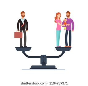 Businessman and happy family with kids on scales. Work and life balance business vector concept. Family and career business, life compare illustration