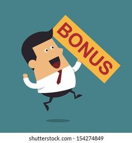 Businessman happy get money bonus, Business concept