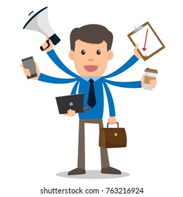 Businessman happy with multitasking and multi skill. cartoon character vector illustration. marketing, coffee, phone, megaphone, clipboard.