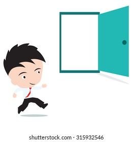 businessman happy to running in open door, presented in vector form