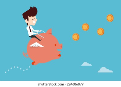 Businessman happy saving with piggy bank