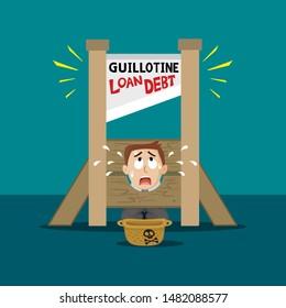 Businessman hard working in loan and debt guillotine, illustration vector cartoon
