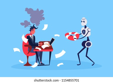 businessman hard working process robot hold lifebuoy bot helper artificial intelligence concept blue background full length flat vector illustration