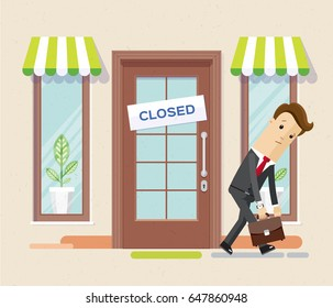 Businessman has become bankrupt and closed the business. Sign ?losed on the front door. Vector, illustration, flat