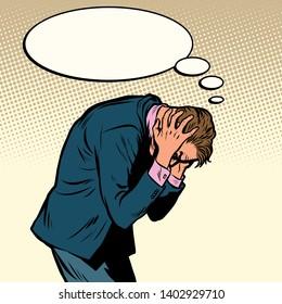 businessman has a headache. Health and stress. Pop art retro vector illustration vintage kitsch