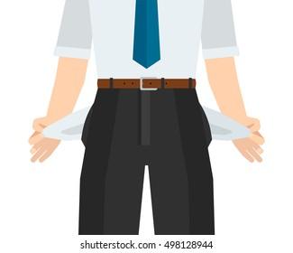 Businessman has no money. Empty pockets. Vector illustration