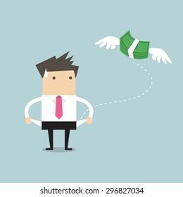 Businessman has no money vector