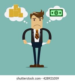 Businessman has no money vector illustration.