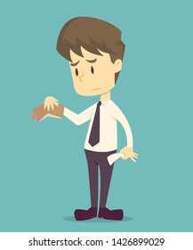 Businessman has no money.cartoon of business,employee unsuccess is the concept of the man characters business, the mood of people, can be used as a background, banner,infographic. illustration vector