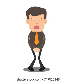 businessman has to pee very urgently. business cartoon character vector illustration.