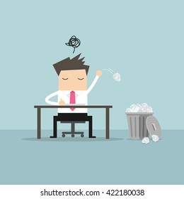 Businessman have no idea and throwing crumpled paper to trash. vector