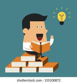 Businessman having a great idea while reading a book, Business idea