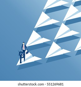 Businessman at the helm stands at the head of a squadron of paper airplanes. Isometric employee behind the wheel and riding on a flying paper plane. Business concept leadership