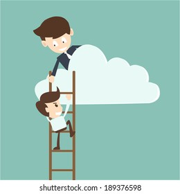 Businessman help to pull another from bottom of cloud