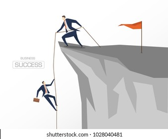 Businessman help a team climb to the top of the rock. Teamwork for success business.