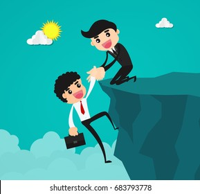 Businessman helping a friend climbing up on a rocky dangerous cliff at mountain by pulling him up with hand.friendship support, teamwork, partnership, faith, and trust concept.