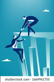 Businessman helps the other entrepreneur reach the goal and climb the cliff. Business vector  illustration.