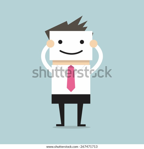 Businessman hide his real face by holding smile mask