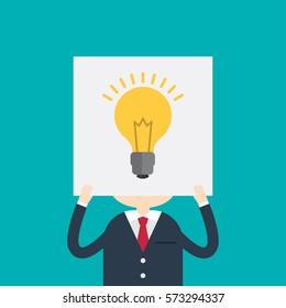 Businessman hiding behind a lightbulb drawn on paper