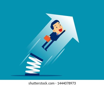 Businessman high jump with springboard. Concept business growth vector illustration, Flat cartoon character style design.