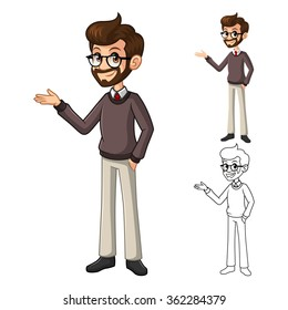 Businessman Hipster Geek with Welcoming Arms Pose Cartoon Character Include Flat Design and Line Art Version Vector Illustration