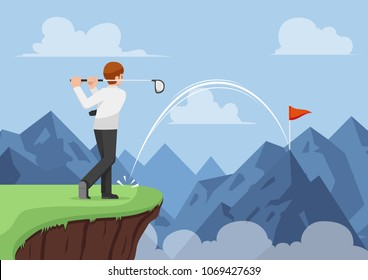 Businessman hit golf and making a hole in one across the mountain. Business success and effective leader concept.