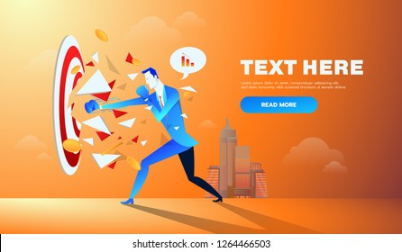 Businessman hitting and breaking the goal target vector illustration.