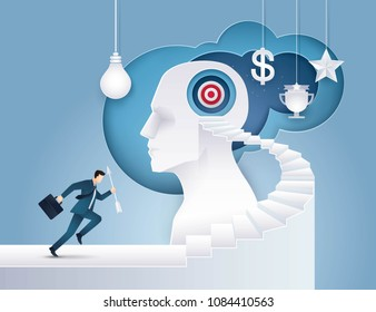 Businessman hold arrow Running up stairway to the target on Human Head, Goal as Think, Business concept growth to success, Reach the target, Positioning strategy in consumer customer, Paper art vector