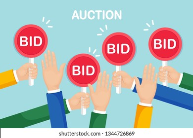 Businessman hold auction paddle in hand. Bidding, auction competition concept. People rise signs with BID inscriptions. Business trade process. Vector flat design
