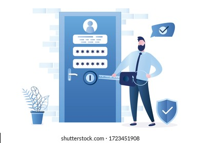 Businessman hold big key, closed door with account information and password. New account registration concept. Secure login. Funny internet user. Male character in trendy style. Vector illustration