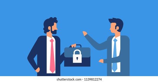 businessman hold case padlock security GDPR General Data Protection Regulation concept flat horizontal blue background vector illustration