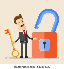 Businessman hold a key from a large padlock in his hands. Man opened lock by a key. Business and finance concept.  Vector, illustration, flat