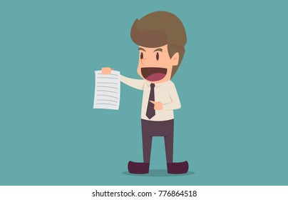 Businessman hold Offer job.recruitment concept.cartoon of business success is the concept of the man characters business, the mood of people,background, banner, infographic. illustration vector