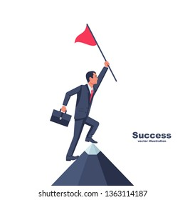 Businessman hold red flag on top of mountain. Goal achievement. Mountain peak as a symbol successfull mission. Business concept. Enjoys victory. Progress. Achievements in work.