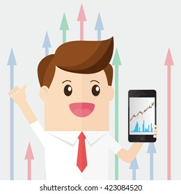 businessman hold smart phone with graph grow up