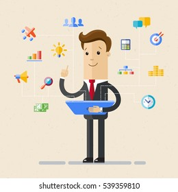 Businessman  hold tablet and choose  virtual icons. Set of office and business flat icons. Vector, illustration