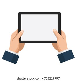 Businessman hold tablet with empty white screen. Flat design style vector illustration for web banner, website, infographics