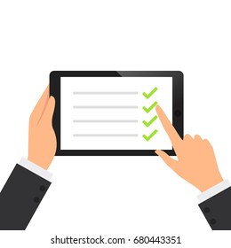 Businessman hold tablet and fill the green check list on the screen vector illustration